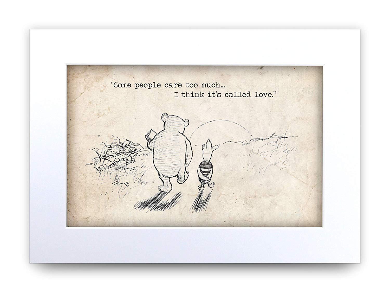 6 x A4 Winnie The Pooh Quote Print Unframed Wall Art Minimalist Nursery Hang